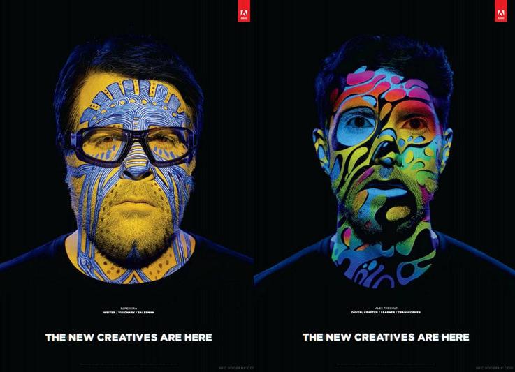 这系列平面广告设计没有过多花俏的东西,仅仅是脸谱化的设计,却很能抓